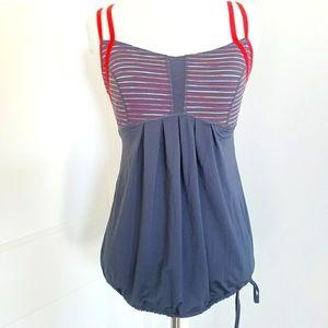 Zella gray cinch waist workout top with shelf bra